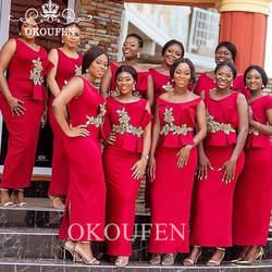 Длина по щиколотку платья для подружки невесты с золотыми аппликациями Пеплум красный оболочка свадебное платье для гостей вечерние для