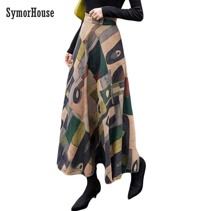 Retro Europe Style Long Skirts For Women Vintage Winter Velvet Wool Skirt Plus Size Stretch Maxi Skirt High Waist A-line Faldas