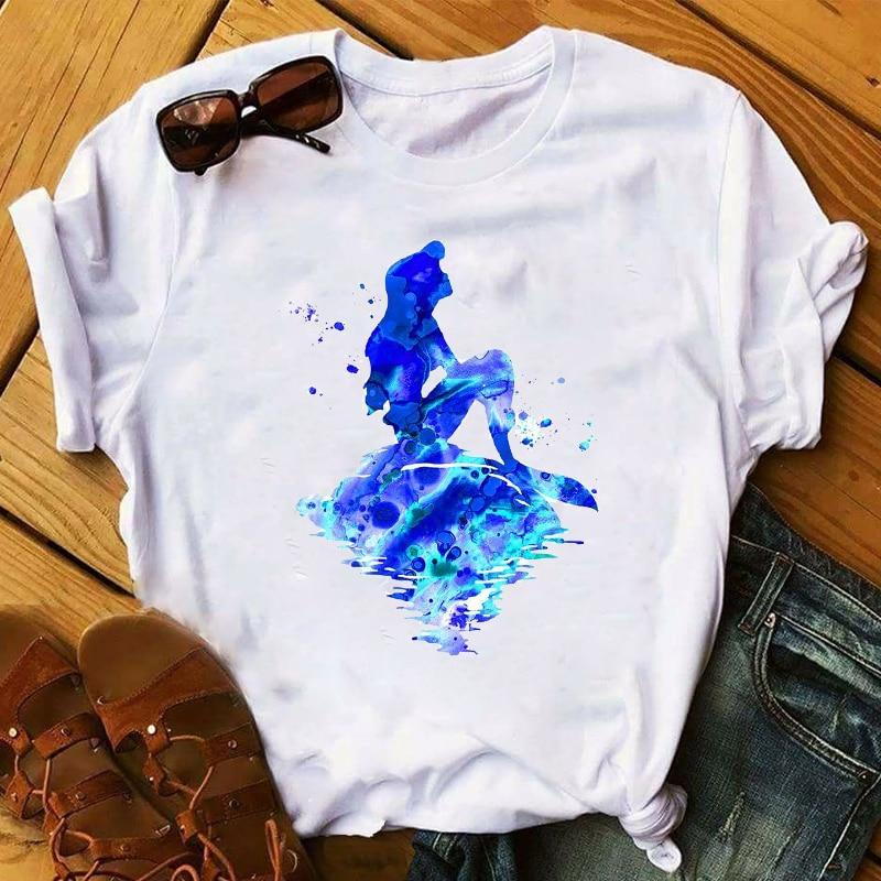 Women 2020 Princess Mermaid Watercolor Print Clothes Womens Top T Shirt Clothes Ladies Graphic Tshirts Female Tee T-Shirt
