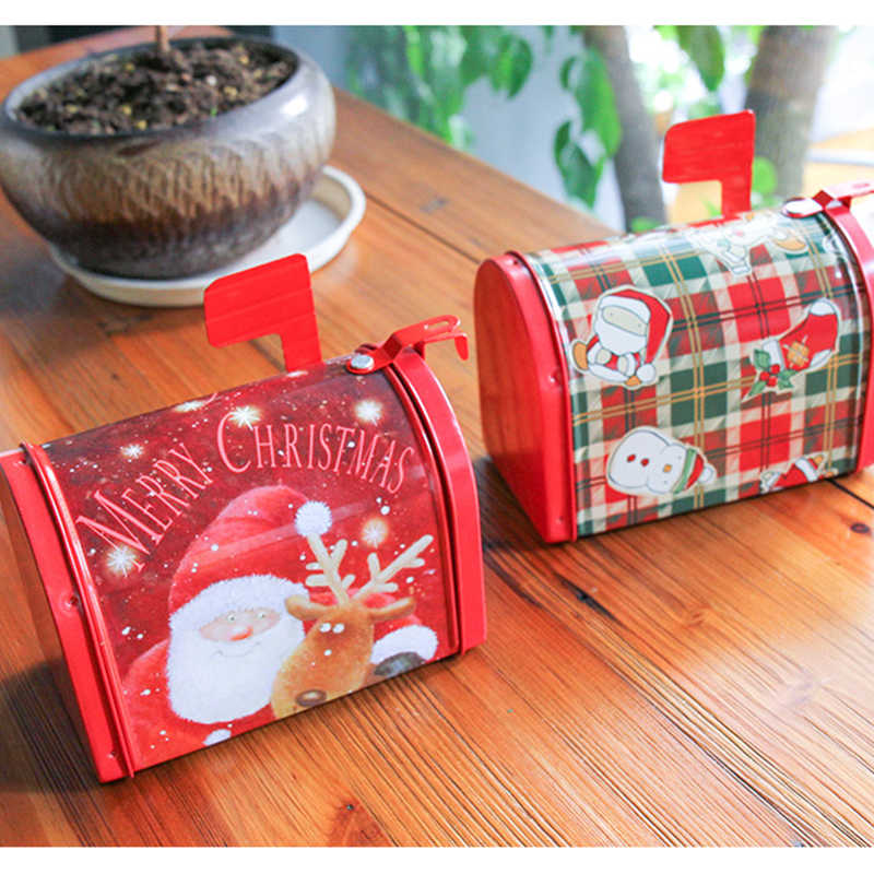 Christmas Decor Candy Gift Tin Box Kids Gift Mailbox Case Christmas Santa Claus Snowman Printed Sealed Jar Packing Boxes