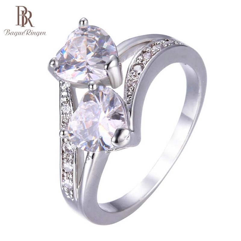 Bague Ringen New Arrivals Silver 925 Jewelry Rings For Women Popular Crystal Zircon Double Love Heart Ring Weddings Korean Style