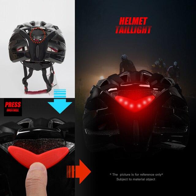 Queshark profissional das mulheres dos homens ciclismo capacete com lente removível mtb bicicleta capacete com lanterna traseira l tamanho 58cm-64cm qe120 2