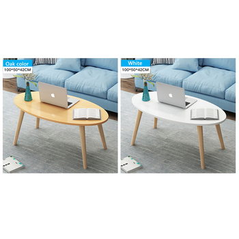 Home Oval Top Table Coffee Table Living Room Tea Desk Wood Leg Hallway Furniture mc2102b modern living room furniture marble top tea table coffee table with drawer
