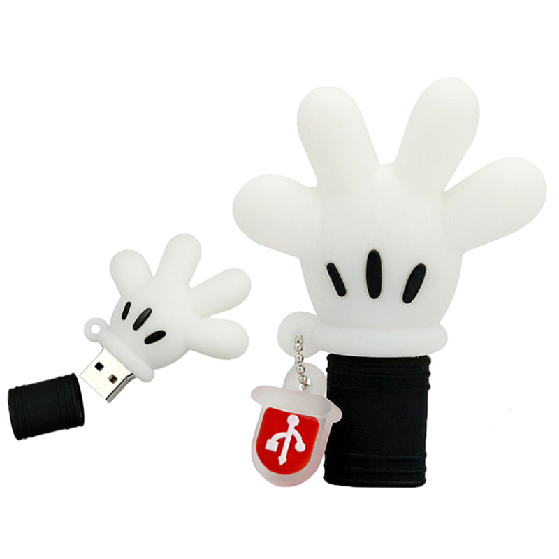 Pendrive Mickey Mouse Hand Gloves USB Flash Drive 128GB 256GB 4GB 8GB 16GB 32GB 64GB USB 2.0 Stick Cartoon Mickey Palm Pen Drive