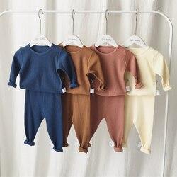 Nova venda quente crianças roupas para meninos meninas com nervuras conjunto com manga completa crianças macio outono inverno pano calças do bebê da criança 2 pçs