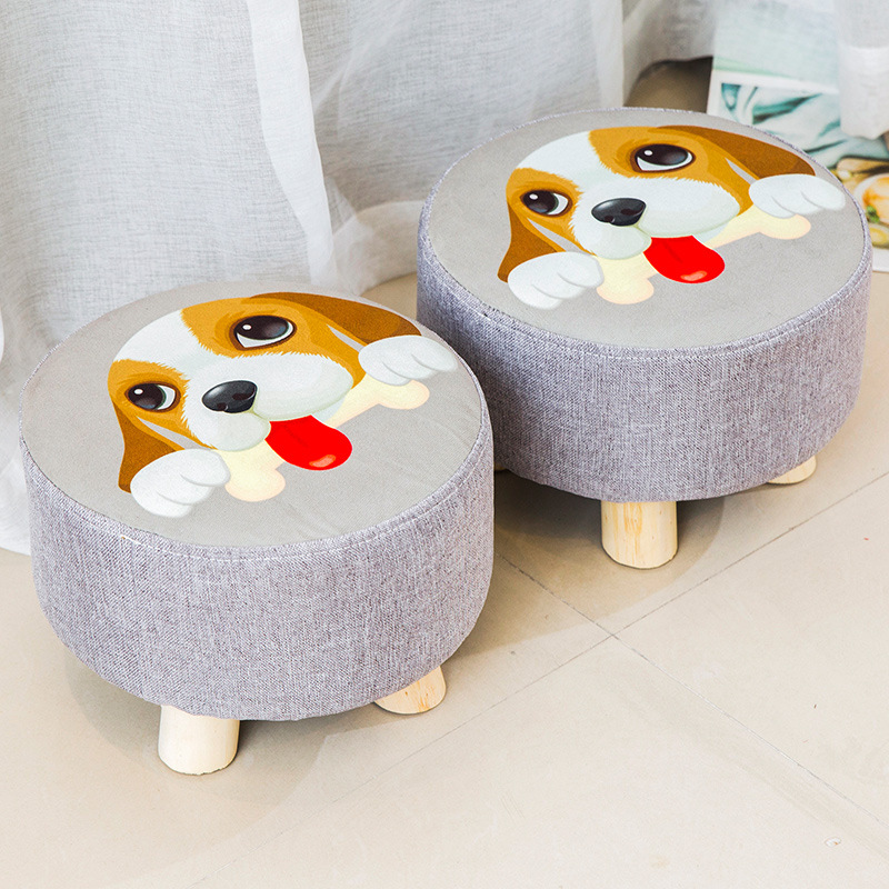 Modern Luxury Upholstered Footstool Round Pouffe Stool Wooden Leg Fabric Kids with 4 Legs
