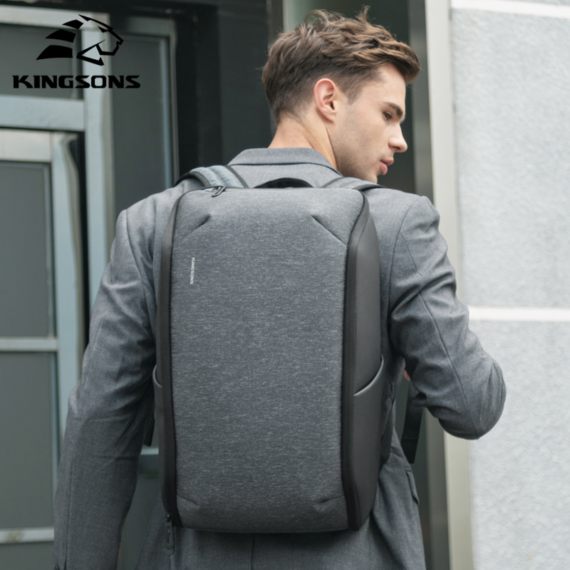 Kingsons Man Backpack Fit 15 Inch Laptop With Upgraded USB Recharge Men Multifunctional Travel Anti-thief Waterproof Bag Mochila