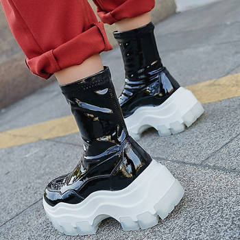 SARAIRIS Brand Design 2020 Patent Leather Platform Ankle Boots Woman Shoes Fashion Slip On Women Boots Female Shoes Sneakers