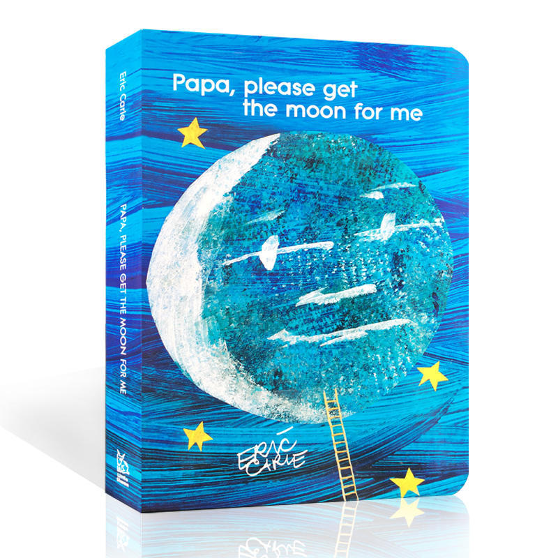 Papa Please Get The Moon For Me English Drawing Cardboard Book  Early Education Classroom Montessori Colorful Picture Book