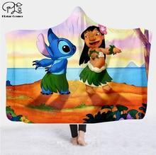 Cartoon funny Stitch Hooded Blanket 3D full print Wearable Blanket Adults men women Fleece Blanket style-1 flamingos print blanket 1 pc