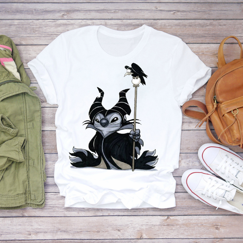Women 2020 Cartoon Stitch Bird Maleficent Fashion Clothing Lady T-shirts Ladies Womens Top T Shirt Graphic Female Tee T-Shirt