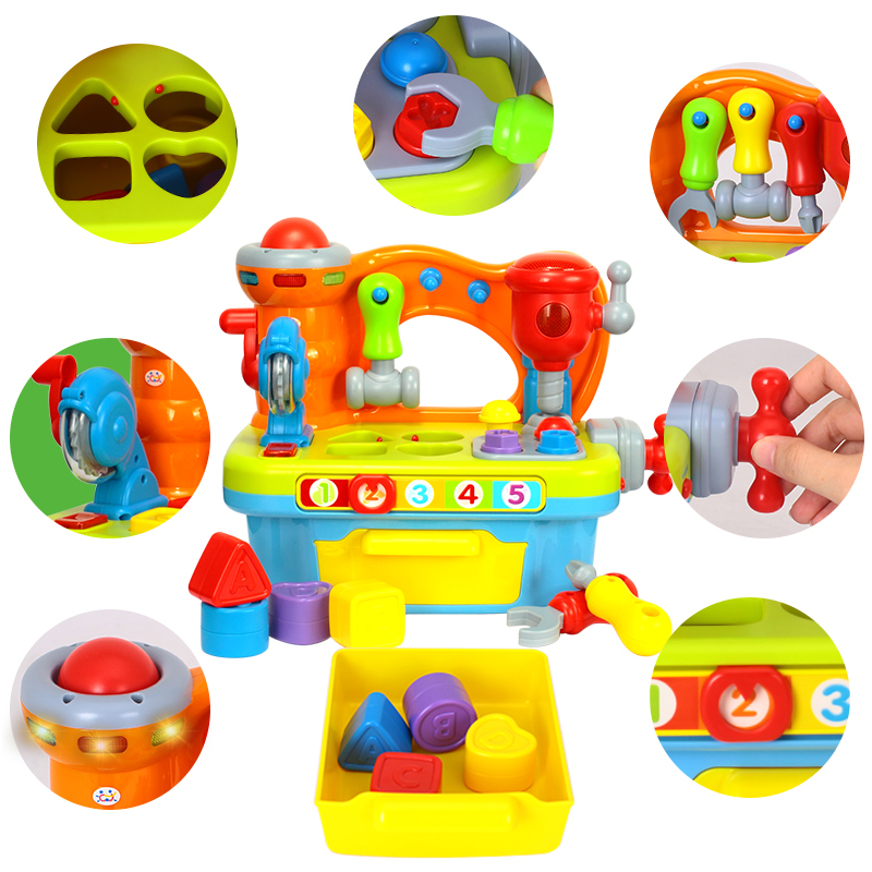 HOLA 907 Musical Learning Workbench Toy With Tools, Engineering Sound Effects & Light & Shape Sorter Toys For Children Xmas Gift