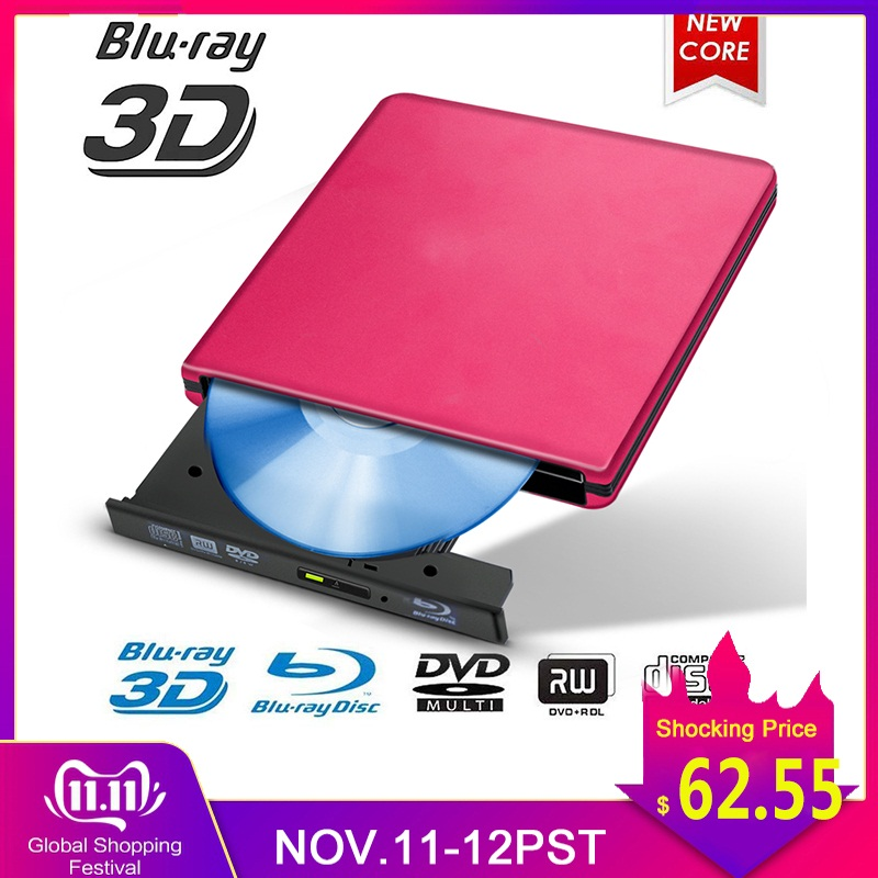 Blu-ray USB 3.0 External BD/CD/DVD Drive Burner Polished Metal Chrome For Mac/Windows 10/Laptop/PC Optical Drive Player Writer