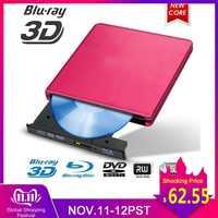 Blu-ray USB 3,0 quemador externo BD/CD/DVD Metal pulido cromado para Mac/Windows 10/ordenador portátil reproductor de unidad óptica
