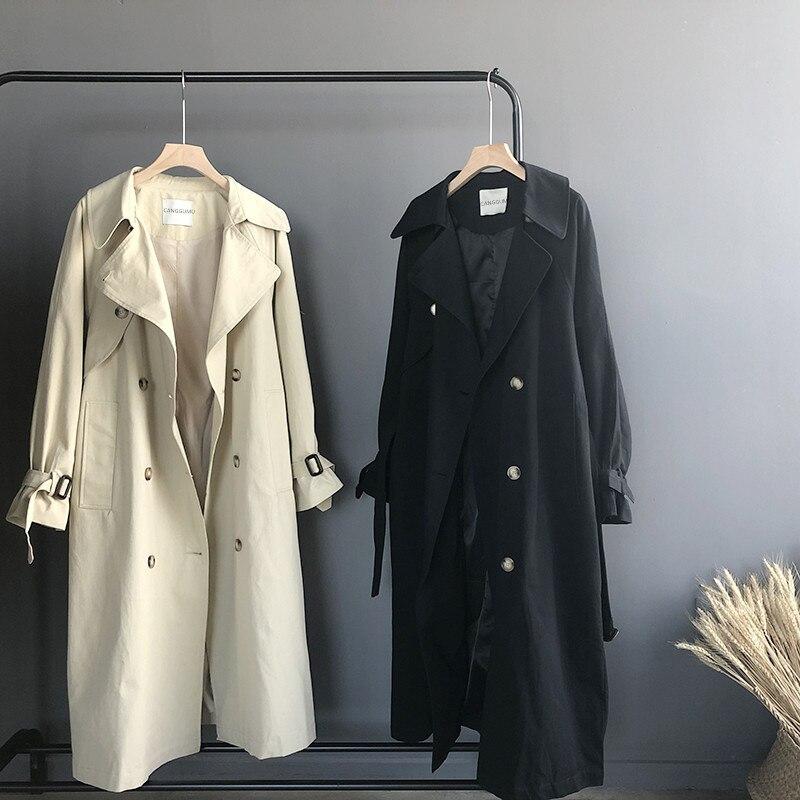 Mooirue printemps femmes Trench Coat coton rembourré simple boutonnage Long lâche Cardigan Harajuku coréen Cardigan féminin Outwear