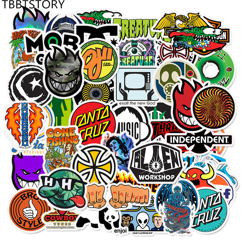 50Pcs Brand Logo Personalized Graffiti Stickers For Skateboard Luggage Motorcycle <font><b>Guitar</b></font> Phone Bicycle Laptop Waterproof Sticker image