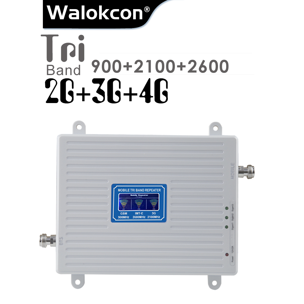 2G 3G 4G Cellular Signal Repeater GSM 900 WCDMA 2100 LTE 2600 Tri Band 70dB LCD Display GSM 3G UMTS Signal Booster 4G Amplifier
