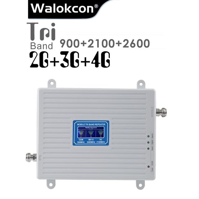 2G 3G 4G 셀룰러 신호 리피터 GSM 900 WCDMA 2100 LTE 2600 트라이 밴드 70dB LCD 디스플레이 GSM 3G UMTS 신호 부스터 4G 증폭기