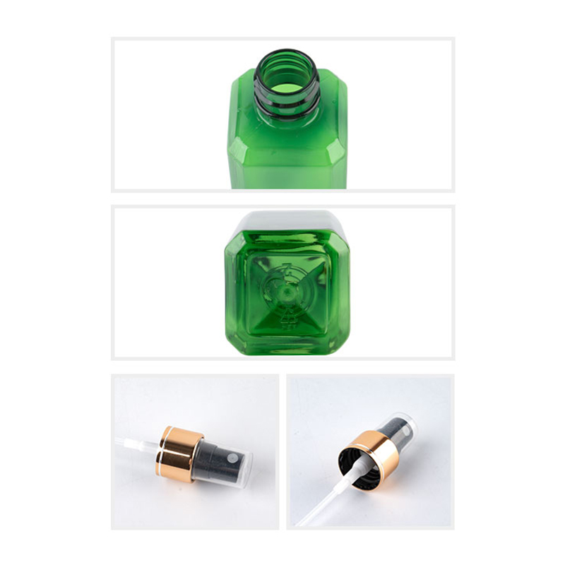 100ml Transparent Square Empty Plastic Bottles Gold Aluminum Sprayer 100cc Cosmetic Containers Perfume Bottle With Spray Pump-1