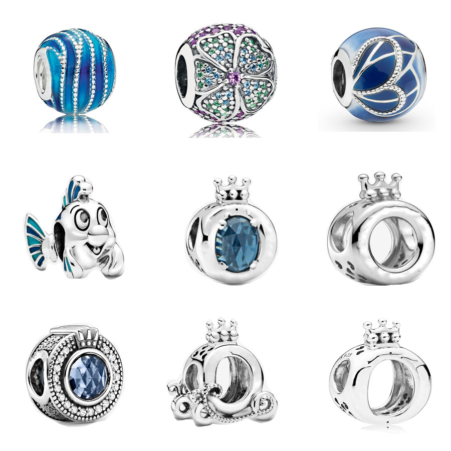 925 Sterling Silver Glorious Bloom Sparkling Crown O charm Fit pandora Bracelet Little Mermaid Flounder Charm DIY Jewelry(China)
