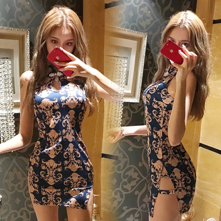 15Colors Women Tight Bodycon Chinese Cheongsam Qipao Dress Embroidery Nightclub Sexy Mini Bandage Party Split Bandage Dress