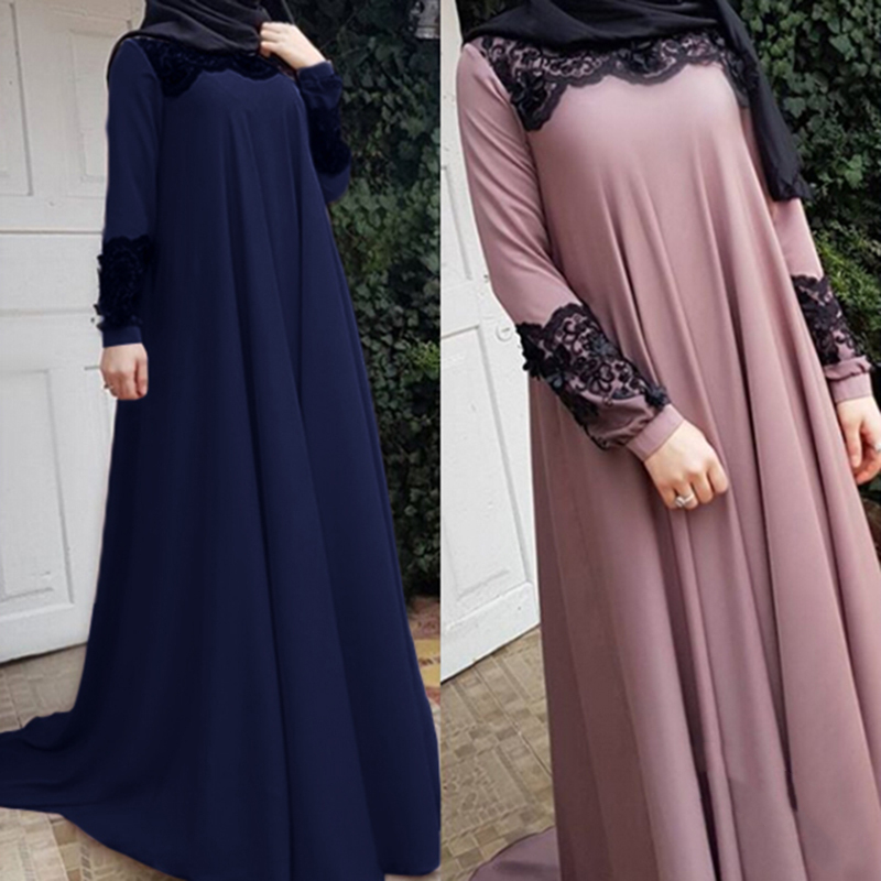 WEPBEL The New Arab Women Muslim Dress Long Sleeve Plus Size Loose Abaya Fashion Casual Applique Big Swing Islamic Clother