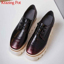 Krazing pot print genuine leather casual shoes white sneaker round toe thick bot