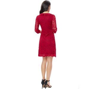 Image 5 - YTL Women Retro Vintage Half Sleeve Dress Elegant Dinner Party Dresses Burgundy Lace Doll Collar Plus Size Dress 6XL 8XL  H263