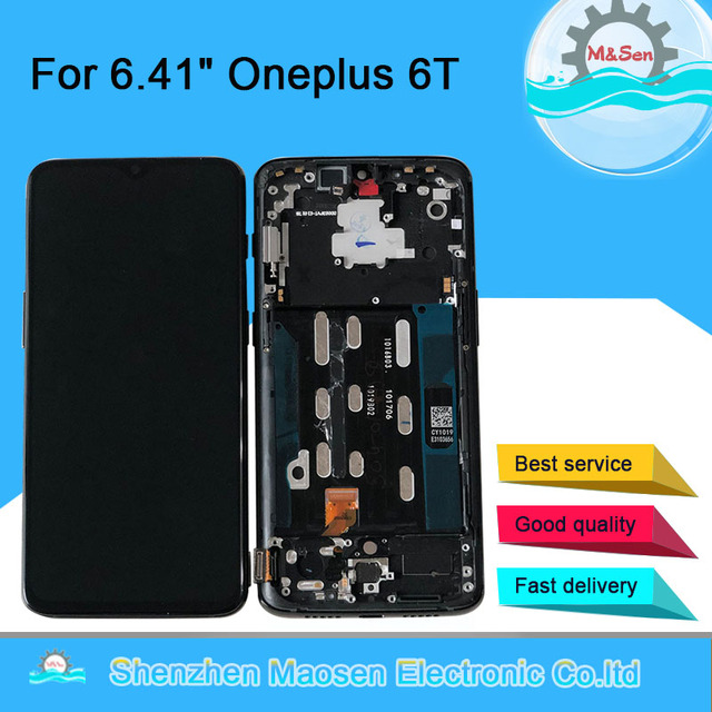 """6.41""""Original Super Amoled M&Sen For OnePlus 6T One Plus 6T  LCD Display Screen With Frame+Touch Panel Digitizer For With Frame"""