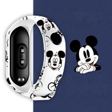 Disney Mickey pasek dla Xiaomi Mi Band 5 4 3 NFC silikonowa opaska na rękę bransoletka zamiennik dla opaska Xiaomi 4 nadgarstek TPU pasek tanie tanio NYLON CN (pochodzenie) Bagietka Poliester Cartoon drukarnie Kieszeń na telefon komórkowy Komputer pośrednia Moda NONE
