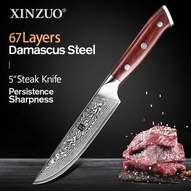 XINZUO 5 inç biftek bıçağı şam vg 10 çelik mutfak bıçakları gülağacı kolu yeni gelmesi yüksek kaliteli pişirme aracı maket bıçağı