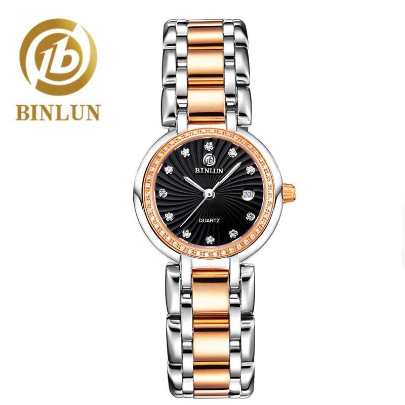 BINLUN luxe Couple montres bracelet étanche et résistant aux rayures diamant cadran Rose or bracelet montres de sport pour hommes/femmes