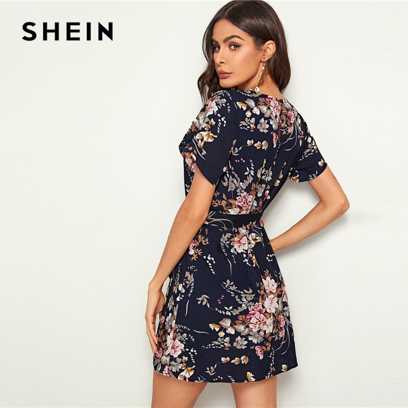 SHEIN Navy Floral Print Petal Sleeve Belted Tunic Shift Dress Women's Shein Collection