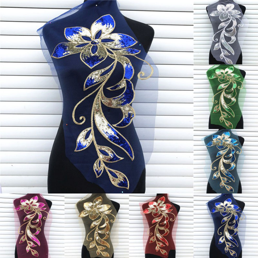 Sequins Embroidered Big Large Embroidery Flower Applique Sequins Fabric For Clothing Rose Blue Golden Red Sewing Patch DIY Dress