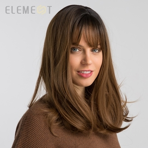 Image 2 - Element 16 Inch Synthetic Wig With Bangs Natural Headline Ombre Brown Color Fashion Cosplay Party Replacement Wigs for Women