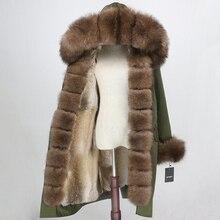 OFTBUY wodoodporny Parka x długi płaszcz z prawdziwego futra kurtka zimowa kobiety lis naturalny futerko z kołnierzem z kapturem prawdziwe futro z królika Streetwear