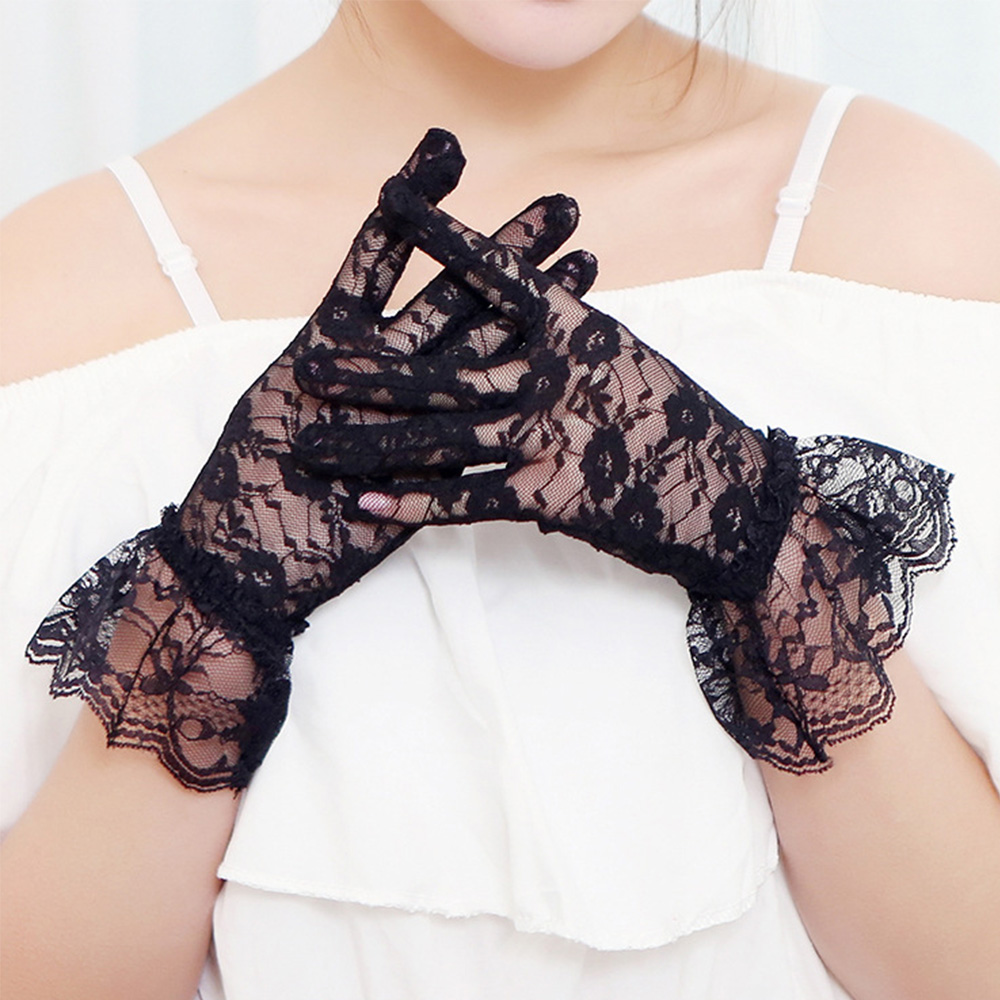 Black Lace Gloves Women Vintage Elastic Sun Protection Summer Gorgeous Finger Gloves Accessories Sexy