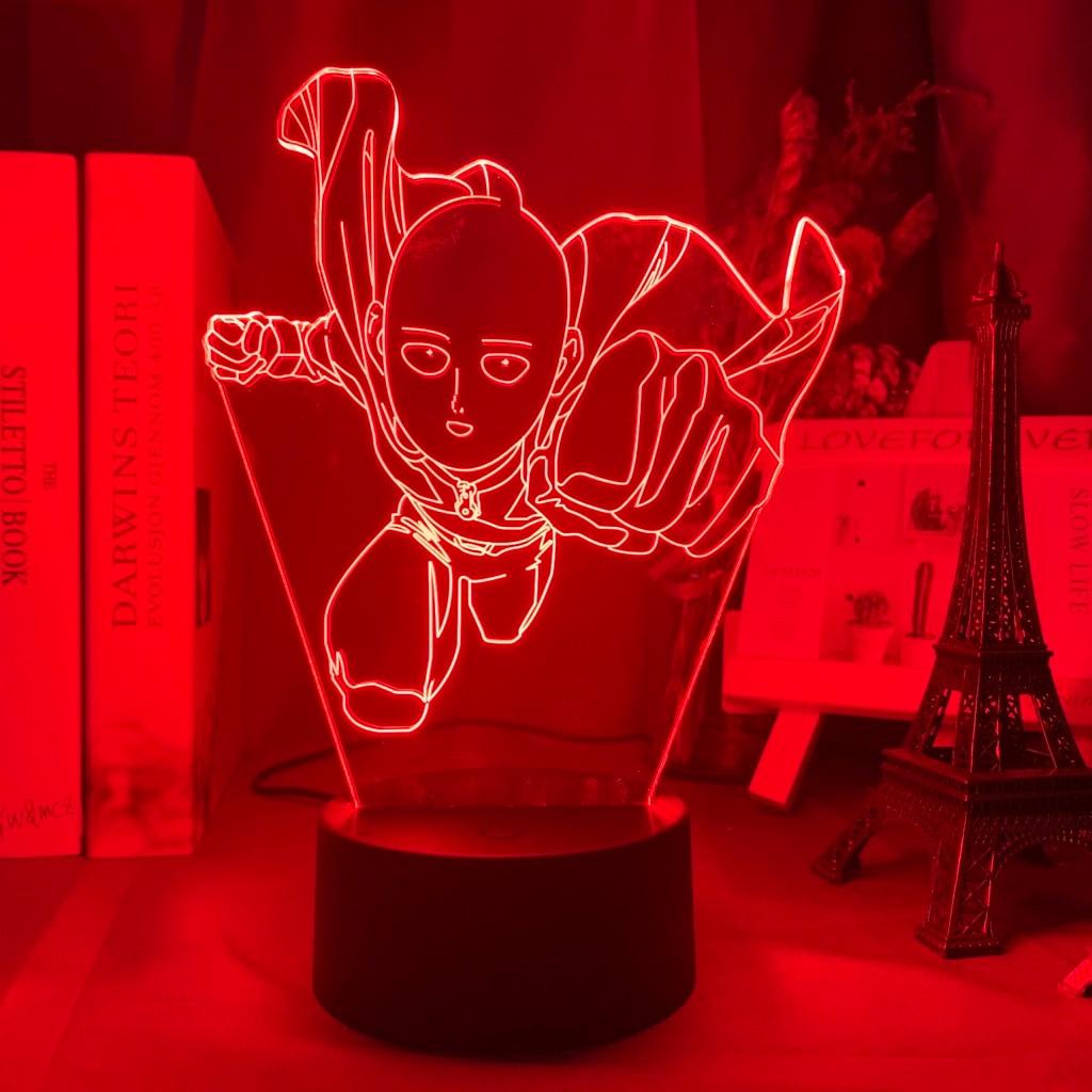 H5f5aff259ef040a691ac143fb383ca58P Luminária One Punch Man saitama figura led night light lâmpada para decoração de casa nightlight fresco mangá loja decoração idéias mesa luz 3d