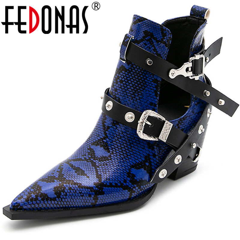 FEDONAS Metal Buckle Thick Heels Pumps 2020 Summer Autumn Pointed Toe Women Shoes Night Club Party Sexy Vintage New Shoes Woman