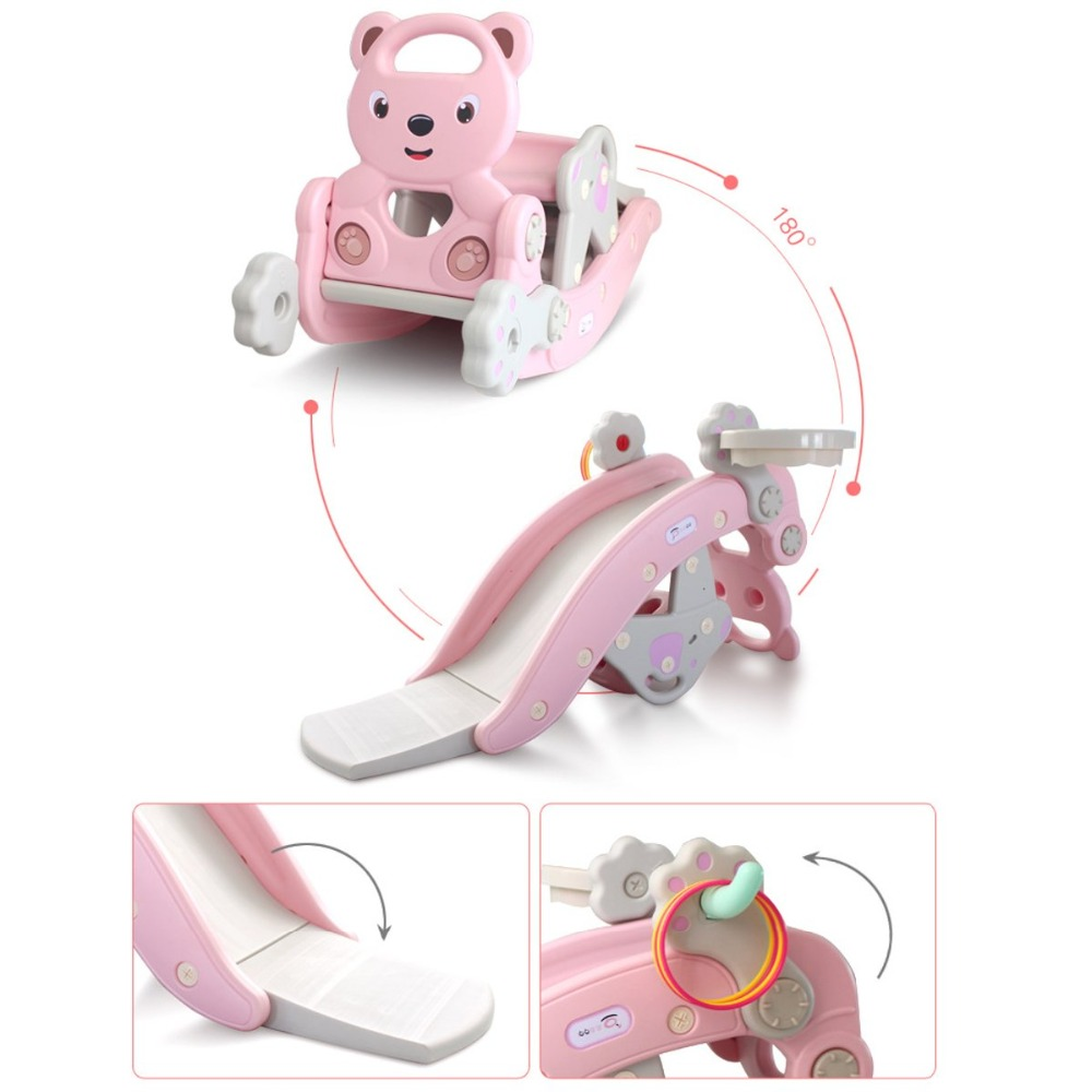 H5f5b250111b24a429a8f7c3bab4533b1S IMBABY 3 in 1 Baby Rocking Horse Slide Basketball Box Children's Kids Toys Indoor Outdoor Kindergarten Safety Game Exercise Toys