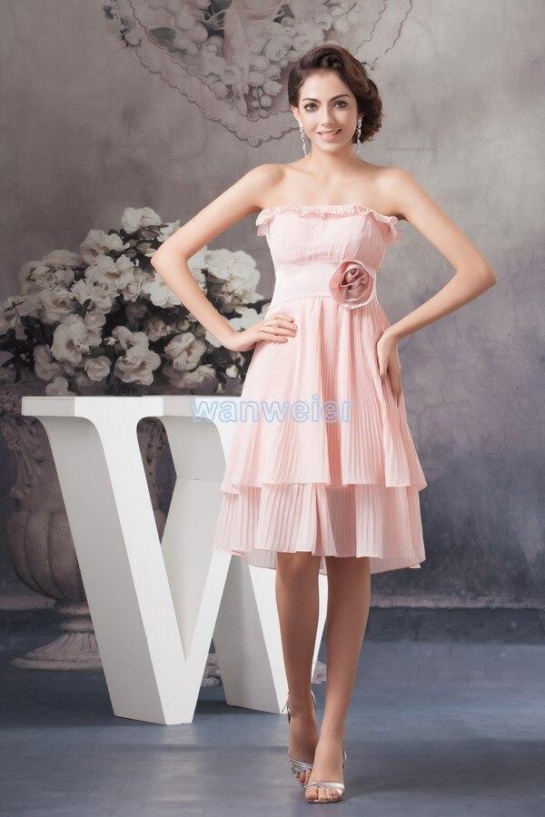 Free Shipping Brides Maid Dress 2020 New Arrival Plus Size Hot Handmade Flower Mint Pink Chiffon A-line Short Bridesmaid Dresses