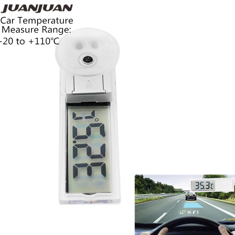 Mini Car Thermometer Transparent Digital LCD Car Windscreen Inner Temperature Window Thermometer Suction Cup -20~110℃ 15%off