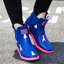 DRIPDROP Natural Rubber Boots Women Girls Short Ankle Rain Boots Ladies Non Slip Fashion Shoes Dalmatian Corgi Terrier