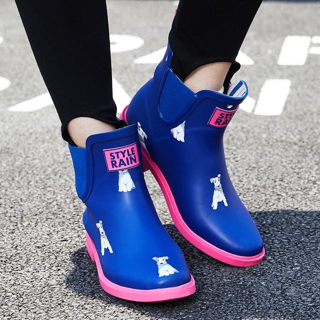 DRIPDROP naturalne kalosze damskie dziewczęce krótkie trzewiki na deszcz damskie antypoślizgowe modne buty dalmatyńskie Corgi Terrier