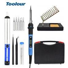 Toolour soldador eléctrico de temperatura de ajuste, 80W, 220V/110V, pantalla Digital LCD, herramientas de reparación de soldadura, Kit de herramientas de cuchillo de tallado