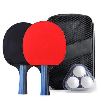 Quality 2pcs/lot Table Tennis Bat Racket Rubber woodIn Long Short Handle Ping Pong Paddle Racket Set With Bag 3 Balls 2pcs ping pong racket table tennis blade long short handle pingpong bat set with 3 balls double face pimples in rubber blades