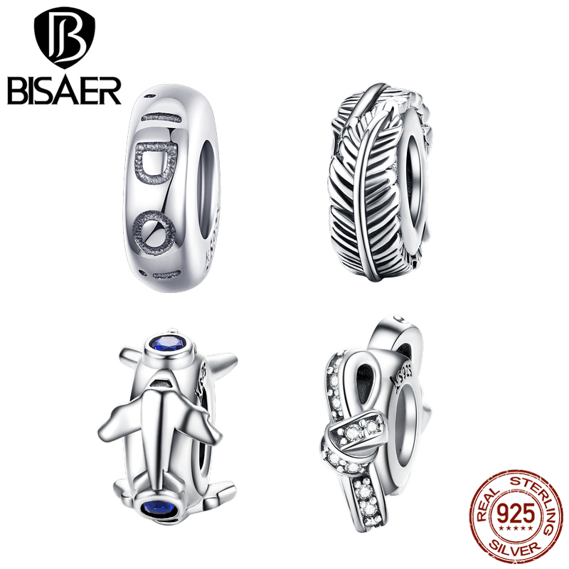 BISAER 100% 925 Sterling Silver 4 Styles Clip Stopper Spacer Beads Charms Love Plane Knot Feather DIY Fine Accessories GXC1215