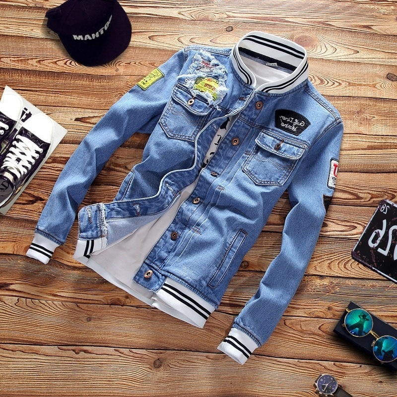 Spring Trend Casual Loose Jacket Mens Denim Jackets Slim Fit  2019 New Men Fashion Cool Stand Collar Plus Size Pilot Coat Zipper  -