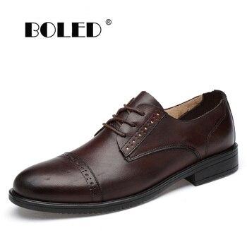 Italian Design Natural Leather Men Oxfords Brogue Office Business Men Shoes Flats Formal Wedding Dress Shoes Men