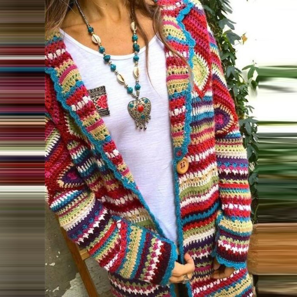Winter Women Multicolor Vintage Print Cardigan Ethnic Wind Long Sleeve Knitting Long Ethnic Style Coat Streetwear Thin Cardigan